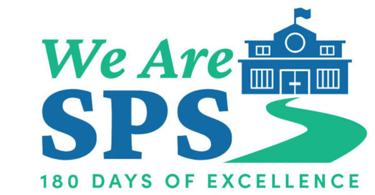 graphic of a school building with the words We Are SPS 180 Days of Excellence